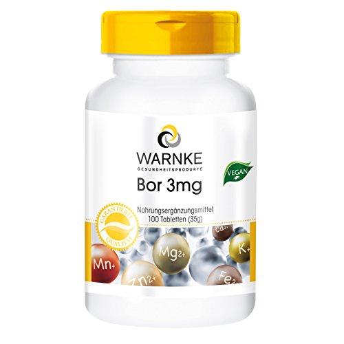 Warnke Gesundheitsprodukte Bor 3 mg, Boron 100 Tabletten, vegi, 1er Pack (1 x 35 g)