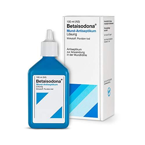 Betaisodona® Mund-Antiseptikum 100 ml, Lösung gegen Bakterien, Pilze oder Viren zum Gurgeln und Spülen, mit PVP-Iod – gut verträglich für die Schleimhaut – milder Geschmack – färbt Zähne nicht