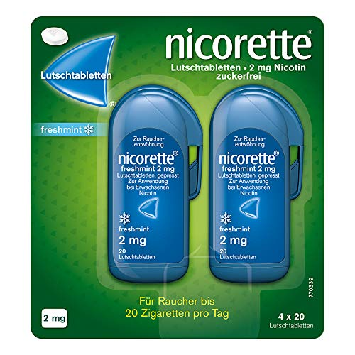 NICORETTE Lutschtabletten mit 2 mg Nikotin – freshmint Geschmack – diskret mit dem Rauchen aufhören – für Raucher von bis zu 20 Zigaretten/Tag