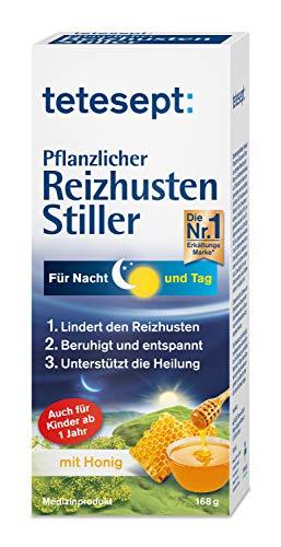 tetesept Pflanzlicher Reizhusten Stiller - Hustensaft mit Honig & Isländisch Moos lindert den Reizhusten - für Tag & Nacht in der Erkältung - 1 x 125 ml