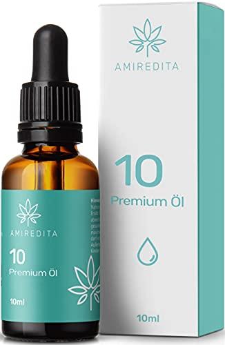 Amiredita Premium Öl 10 Prozent Tropfen Hanfsamenöl mit MCT-Öl - Gold Edition - Deutsches Produkt - Mildes Aroma - Reich an ungesättigte Omega Fettsäuren - Geprüft mit Zertifikat - Vegan - 10ml