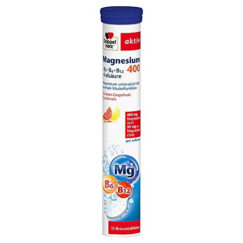 Doppelherz Magnesium + Calcium + D3 Brausetabletten – Nahrungsergänzungsmittel mit Orange-Maracuja-Geschmack – Magnesium für die normale Muskelfunktion – 1 x 15 Brausetabletten
